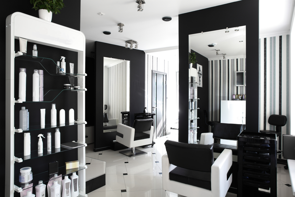 black and white interior of beauty salon